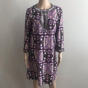 Tory Burch tunic dress Sz 8 brown purple